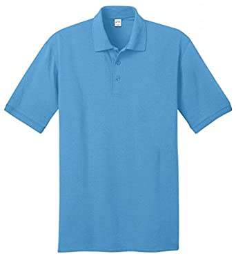 Port & Comapany Men's Big And Tall Knit Polo Jersey_Aquatic Blue_Large Tall