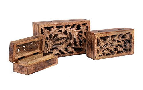 Black Friday Christmas Gifts Set of 3 Wooden Jewelry Keepsake Storage Boxes with Floral Patterns