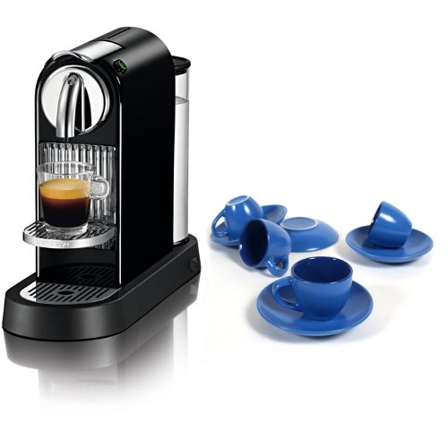 Nespresso Citiz D111 Black Single Serve Espresso Machine With Free 8 Piece Blue Ceramic Cup And Saucer Set