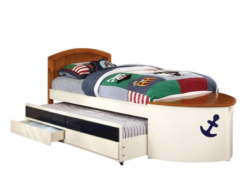 Luxury Furniture of America Youth Boat Design Bed with Trundle and Storage Drawer Twin White and Oak