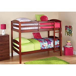Mainstays Twin Over Twin Wood Bunk Bed (Walnut)