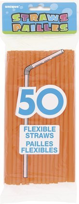 50 Orange Flexi Drinking Straws