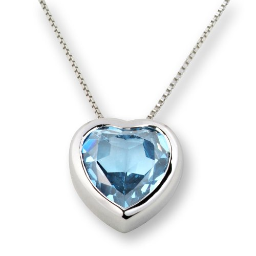 Blue Topaz Necklace, Sterling Silver, Blue Topaz Heart Pendant, ByJoy, SI022P, 45 cm
