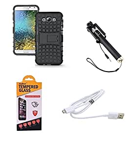 SOROO COMBO OF SAMSUNG GALAXY J7(2016) KICK STAND,FAST CHARGE DATACABLE, FASHION SELFIE STICK AND GORILLA TEMPERED GLASS