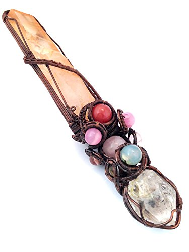 Lemurian Seed Quartz Wand Herkimer Diamond, Chrysoprase, Rose Quartz, Rubellite, Pink Opal, Watermelon Tourmaline Attuning To The Consciousness of Love (Opal Crystal Wand compare prices)