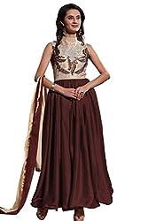 Saryu Brown Semi-StitchedGeorgette Designer Gown