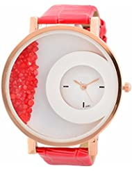Felizo Leather Strap Analogue Womens Round Dial Watch With Moving Beads - Red