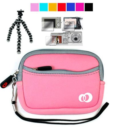 Attractive Mini Glove Camera Carrying Case for Sony Bloggie MHS-TS20 Full HD Touch Camera + Screen Protector for bloggie sony + Tripod for Sony Bloggie (Baby Pink)