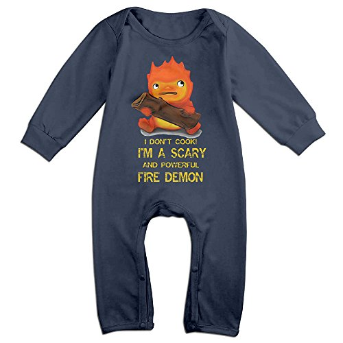 Studio Ghibli Howl's Moving Castle Calcifer Baby Personality Long Sleeved Clothes Navy
