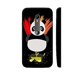 Colorpur Panda Illustration On Black Artwork On Motorola Moto G Turbo Cover (Designer Mobile Back Case) | Artist: Designer Chennai