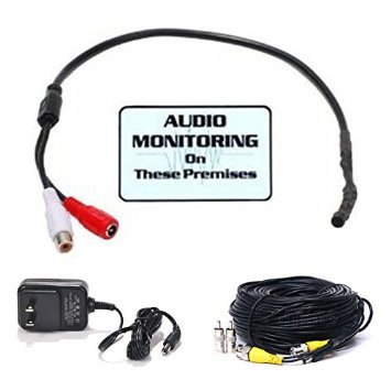 VideoSecu CCTV High Sensitive Tiny Spy Preamp Audio Microphone Pickup Device Kit for Surveillance Security Camera with Extension Cable and Power Supply MIC01 3UB