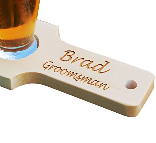 Customized Beer Flight Taster Set Paddle with Glasses - Natural Finish - 2 Lines of Engraving - Personalized Wedding Groomsman Gift Monogrammed for Free