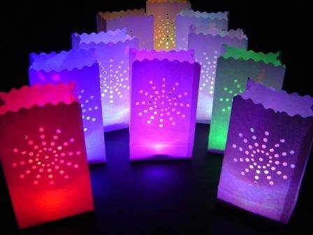 10 X White Sunburst Paper Candle Bag Lantern + 10 Colour Change Led Lights