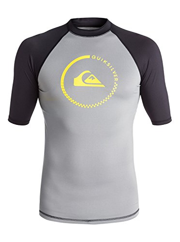 Quiksilver Men's Lock Up Short Sleeve Rash Guard, Steeple Gray/Black, Large