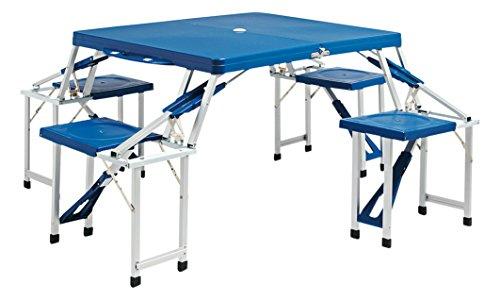 Bertoni Picnic Jumbo Lusso Abs Blu Tavolo e 4 Sedute Richiudibile in una Valigetta Unica, Blu, Unica