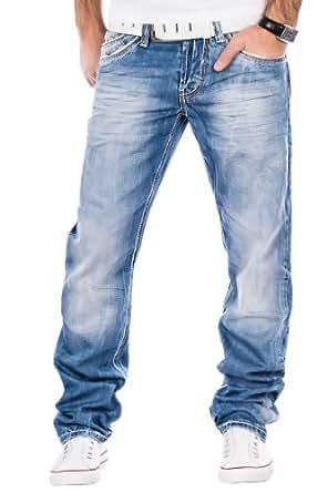 Cipo & Baxx Herren Jeans Verwaschen Ziernähte Clubwear Vintage Chino Hose Blau (W29/L32)