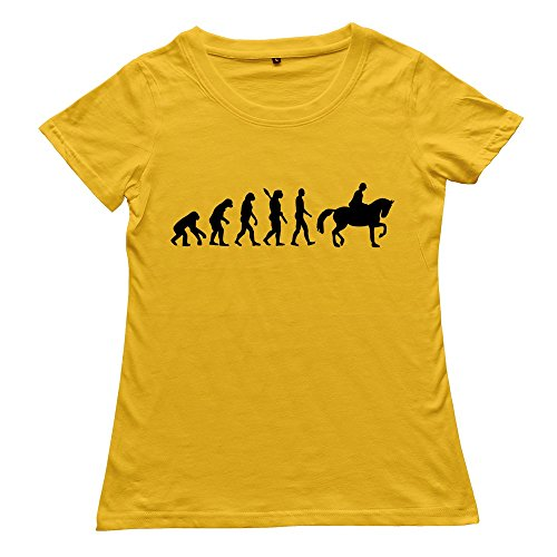 Stabe Women Evolution Riding Horse T-Shirt Slim Fit Humor L Yellow