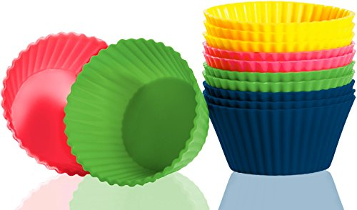 Blueskybos Set Of 12 Premium Silicone Non-Stick Baking Cups