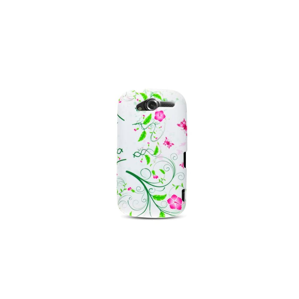 White with Green Pink Flower Soft Silicone Skin Gel Cover Case for HTC T Mobile myTouch 4G