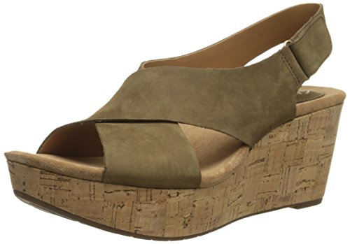 Clarks Women's Caslynn Shae Wedge Sandal, Khaki, 11 M US
