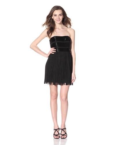 Basix Black Label Women's Strapless Fringe Dress  - Black