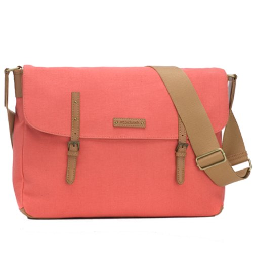 Storksak Ashley Canvas Messenger Diaper Bag - Coral - 1