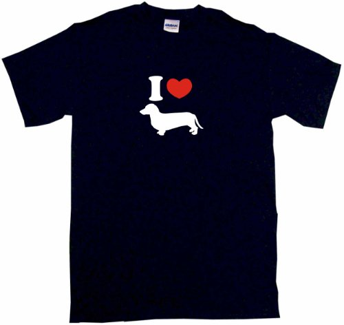 I Love Wiener Dog Dachshund Logo Men'S Tee Shirt Xl-Black