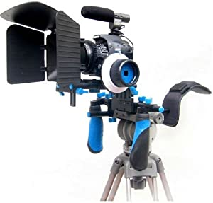 Pro Steady DSLR Complete Movie Rig with Shoulder Mount and Follow Focus System and a Matte Box Shading Card for All DSLR Cameras & Video Camcorders (Blue)