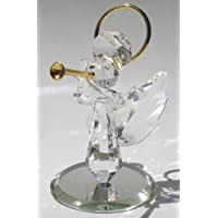 Handcrafted Crystal Angel Blowing Trumpet Made with Swarovski Crystal