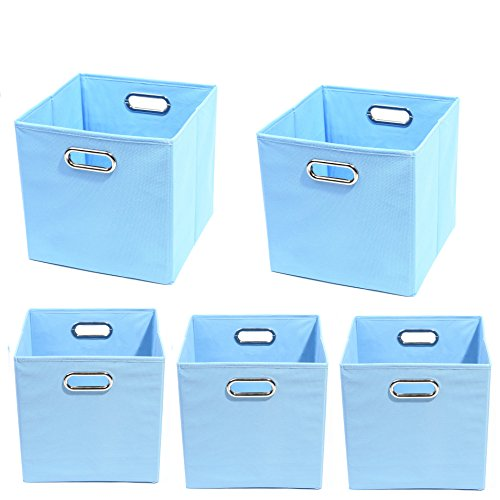 Modern Littles Organization Bundle-5 Storage Bins, Sky Blue