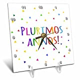 InspirationzStore Many Different Languages - Plurimos annos. Happy Birthday in Latin colorful rainbow text confetti - 6x6 Desk Clock (dc_202044_1)