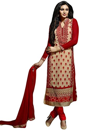 d74fc4be24 Justkartit Women's Multi Colour Long Straight Cut Embroidery Salwar Kameez  (Special Diwali Collection)