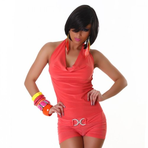 Flam Mode Neckholder Overall mit kurzer Hose und Träger-Oberteil, Farbe:Apricot;Größe:34