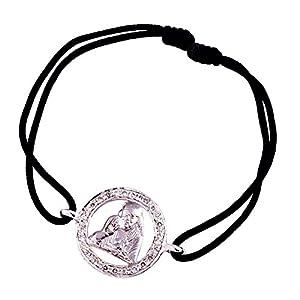 Sai Baba 925 Silver Bracelet in 18mm diameter on adjustable nylon thread