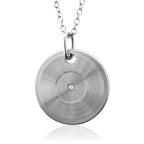 Men's Stainless Steel Disc Diamond Pendant Necklace (GH, SI, 0.05 carat)