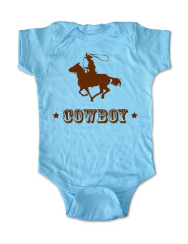 Cowboy Design 3 - Cute Baby One Piece Infant Clothing (12 Months, Light Blue)