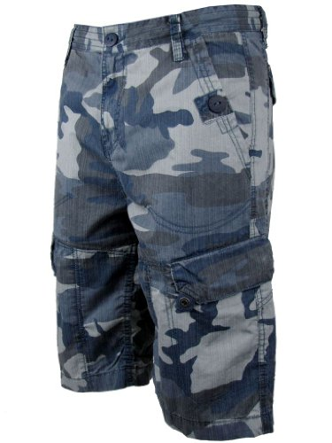 Mens Cargo Shorts Blue/ Grey or Sand Combat Camoflage Pattern