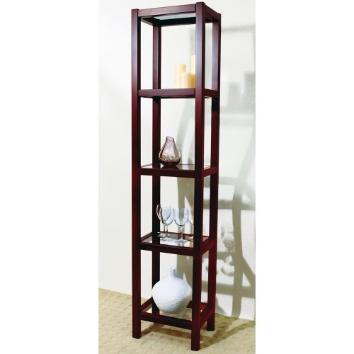 KYOTO - Solid Wood and Glass Five Tier Narrow Display Shelves