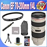 Canon EF 70-200mm f/4L USM Telephoto Zoom Lens + UV Filter + Lens Case + Zing Microfiber Cleaning Cloth + Lens Pen Cleaner + Lens Accessory Saver Bundle!!