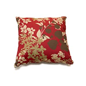 Pair of Decorative Outdoor Throw Pillow - 18 x 18 Red Floral
