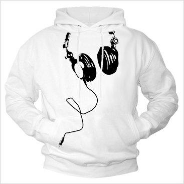 Cool Headphone Hoodie for Men DEEJAY Hooded Sweatshirt white L