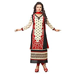 Pavani Women's Cotton Semi Stitched Dress Material (D1500008_Black_Free Size)