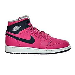 Air Jordan 1 Retro High GG Big Kid\'s Shoes Vivid Pink/Dark Obsidian/Wolf Grey/White 332148-609 (5.5 D(M) US)