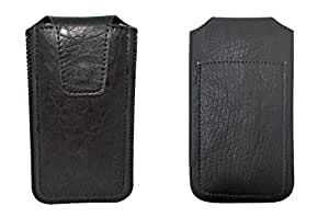 TOTTA PU Leather Pull Up Pouch For Karbonn Sparkle V Android One BLACK