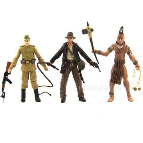 New 3pcs Indiana Jones Ugha Warrior Crystal Skull Soldier 3.75in. Action Figure