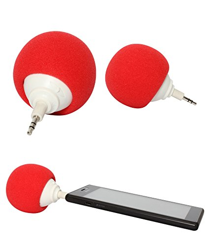 DMG Sponge Ball 3.5mm Plug-n-Play Mini Audio Speakers For Apple iPhone Samsung HTC Nokia iPad iPod (Red)