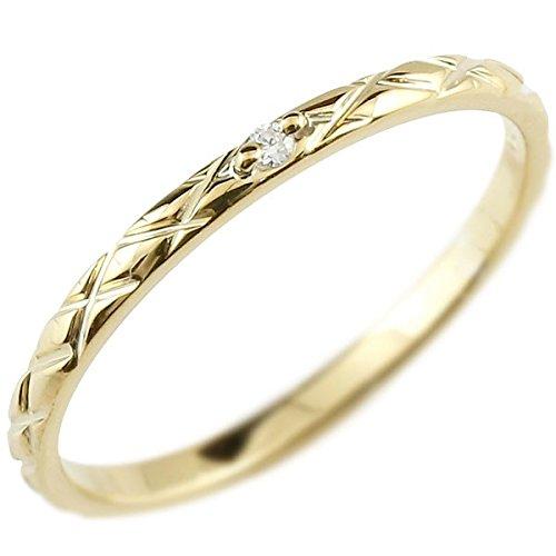 [アトラス] Atrus リング ピンキーリング イエローゴールド 18金 指輪 ハンドメイド ストレート アンティーク ダイヤモンド ダイヤ まるで着けていない様な着け心地 極細 リング 華奢 ファッションリング 16号