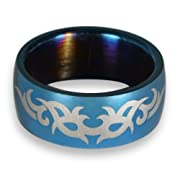 Cobalt Blue Thorny Tribal Steel Mens Ring
