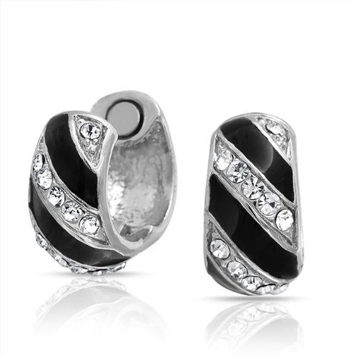 Bling Jewelry Crystal Reversible Black Striped Magenetic Huggie Earrings Clip On