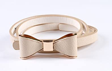 CA Fashion Women's Candy color PU leather Thin Belt Thin Skinny Waistband Beige